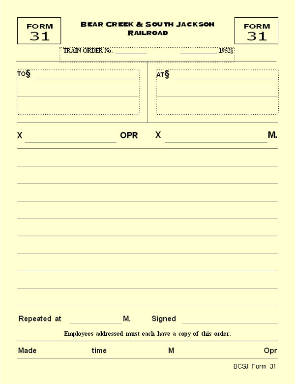 Bcsj Time Table Train Order Ops Form 31